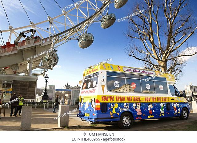 England, London, South Bank, An ice cream van by the London Eye on the South Bank