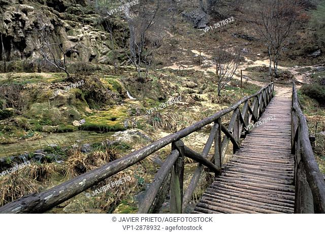 Wooden bridge. Birth of the Ibias River. Valley of Covalagua. The Las Loras World Geopark. Covalagua Natural Space. Palencia. Castilla y León. Spain