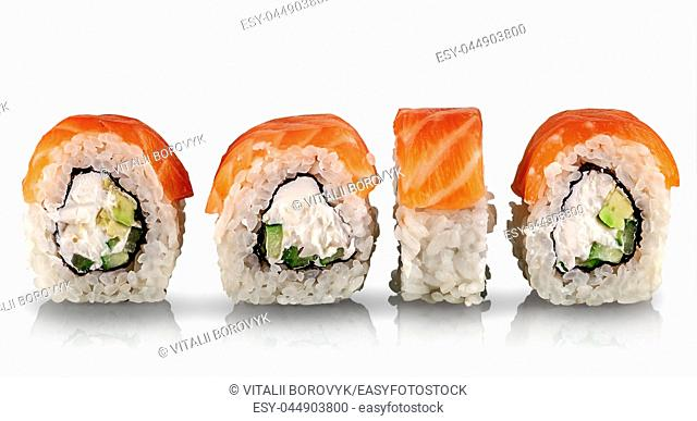 Sushi rolls Philadelphia in a row isolated on white background