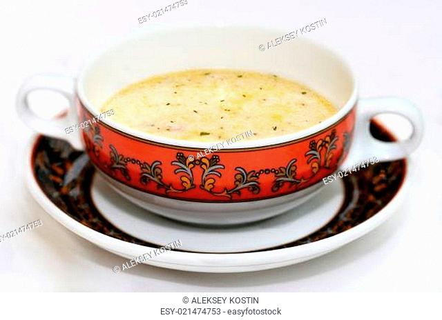 Plate with soup