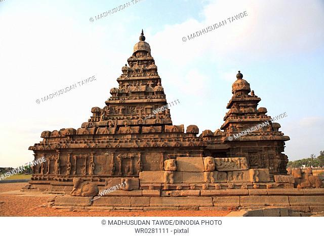 Shore temple dedicated to gods Vishnu and Shiva built c. 700 - 728 , Mahabalipuram, District Chengalpattu , Tamil Nadu , India UNESCO World Heritage Site