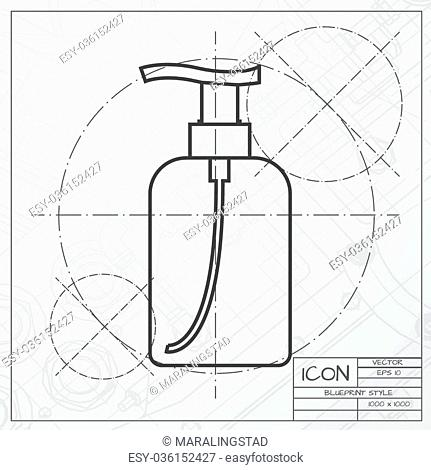 Vector classic blueprint of liquid soap bottle on engineer and architect background . Cosmetic icon