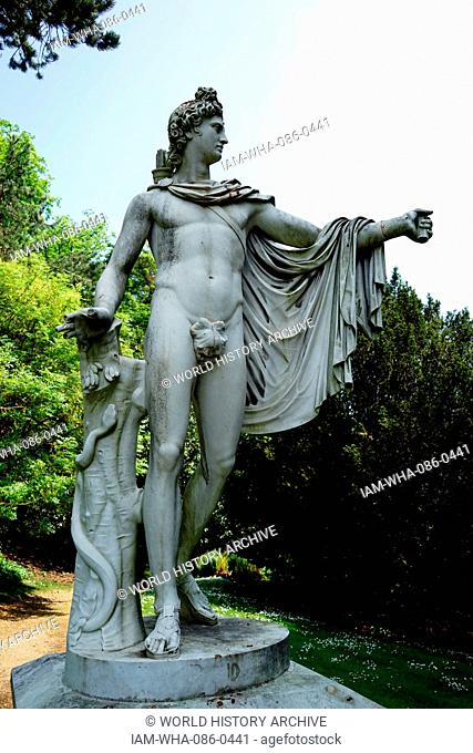 View of a Roman style statue in the gardens of Waddesdon Manor, a country house in the village of Waddesdon. Built in the Neo-Renaissance style of a French...