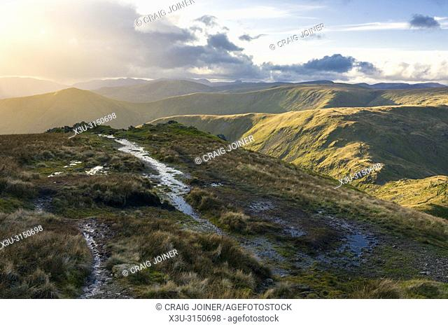 The Cumbrian mountains including Lingmell End and Mardale Ill Bell from Harter Fell in the Lake District National Park, Cumbria, England