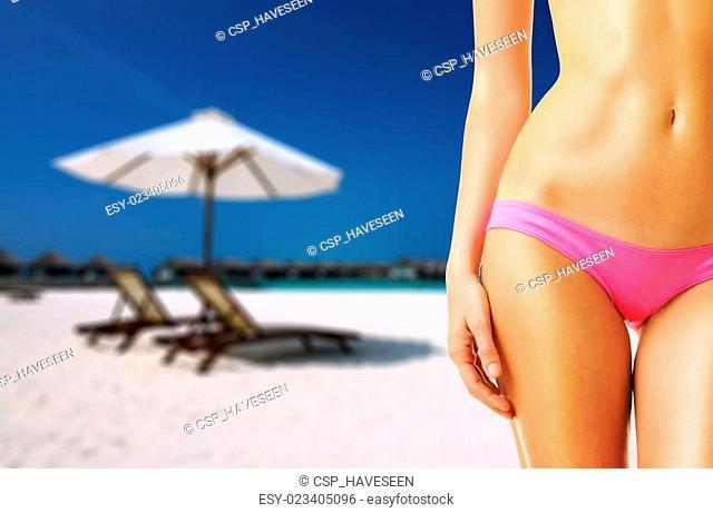 Woman on beautiful beach at Maldives