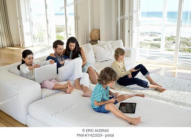 Family using electronics gadget