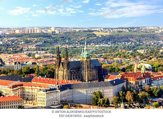 Prague Castle in a summer day, aerial view