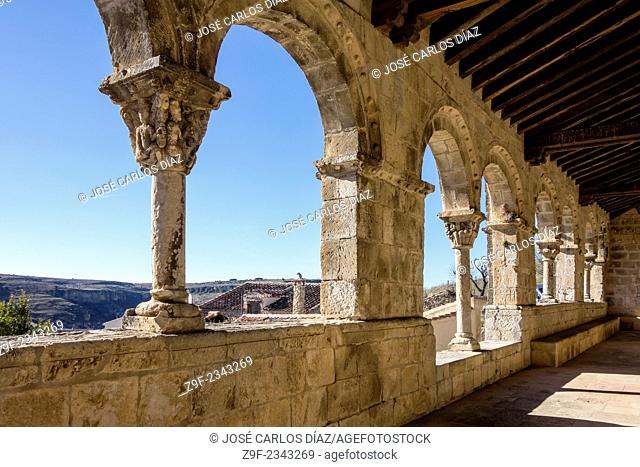 Atrium of the Romanesque church of San Salvador (11th century), Sepulveda, Segovia-province, Castilla-Leon, Spain