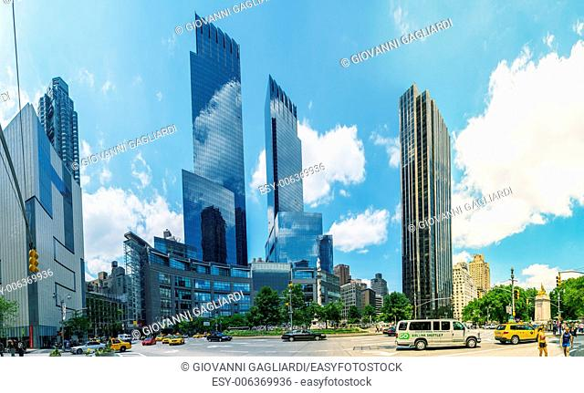 NEW YORK CITY : Traffic and skyscrapers in Columbus Circle. It is the point from which all official distances from New York City are measured