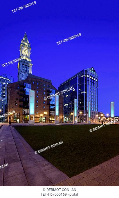 Rose Kennedy Greenway and clock tower