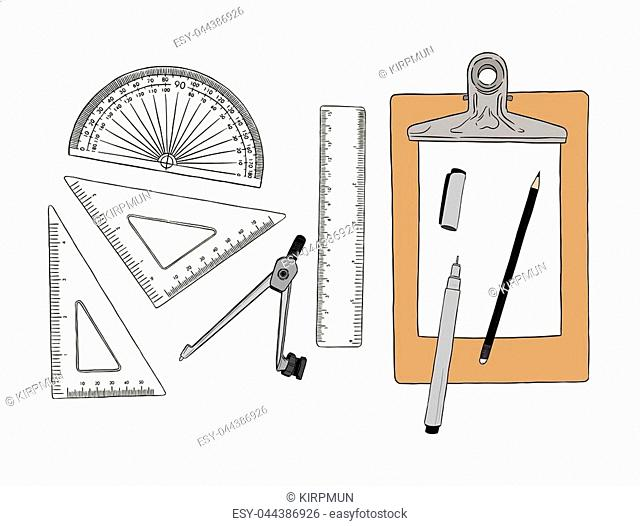 set of stationary , hand draw element sketch vector. work plac eor school equipment