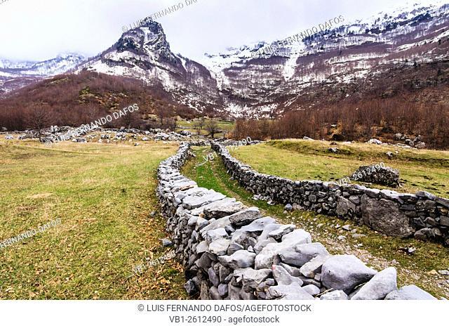 Rural landscape near Boge in the Albanian Alps