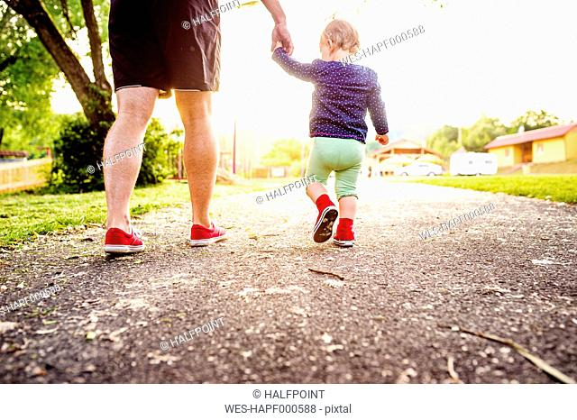 Back view of toddler girl walking hand in hand with her father
