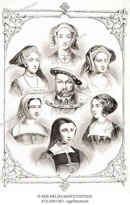 King Henry VIII of England and his six wives. From top centre and clockwise Anne of Cleves, Catherine Howard, Anne Boleyn, Catherine of Aragon