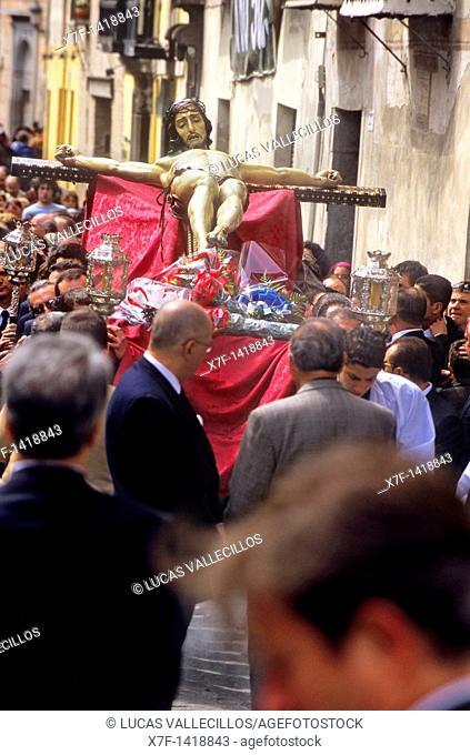 Christ of silence's Brotherhood Cristo del silencio Transfer Holy Thursday in Carrera del Darro, Granada  Andalusia, Spain