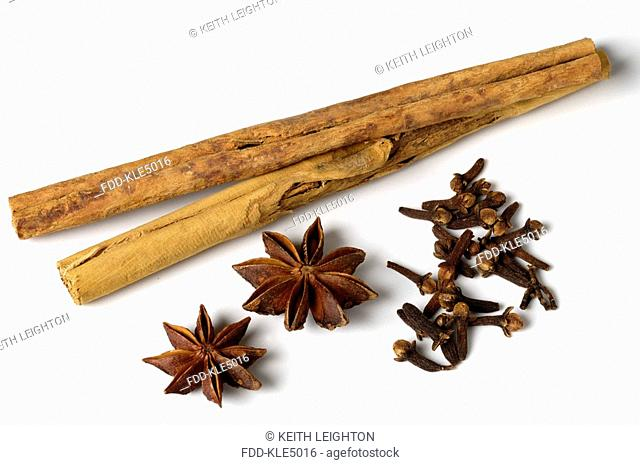 Spices - cinnamon sticks, cloves and star anise