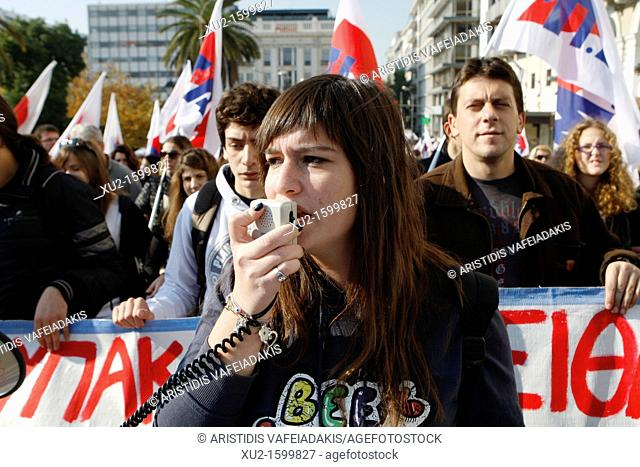 1 December 2011  Athens Greece  Athenians protest against new austerity measures during 24-hour general strike in Greece