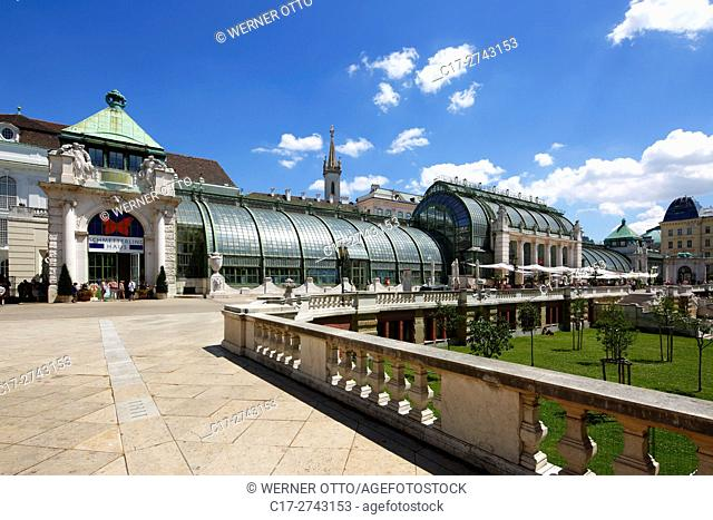 Austria, A-Vienna, Danube, Federal Capital, palm house at the Burggarten, greenhouse, glasshouse, butterfly house, restaurant, art nouveau
