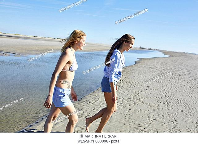 Two female friends walking on the beach