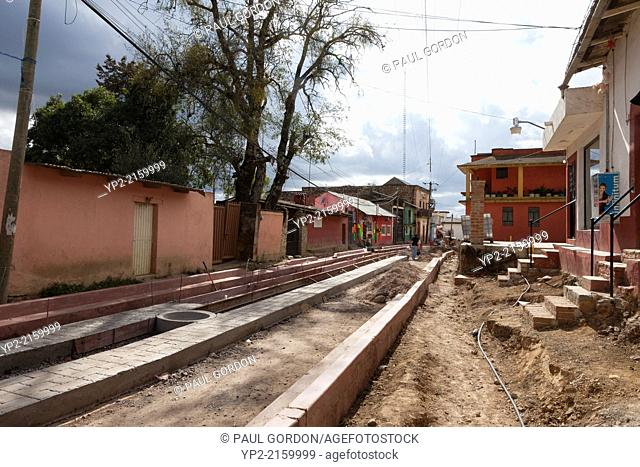 Main street under reconstruction in the village of Santa Rosa de Lima - Guanajuato, Mexico