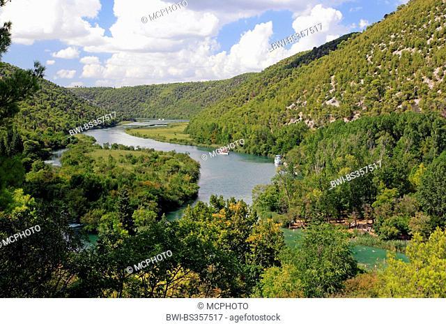 Krka river with excursion boats, Croatia, Krka National Park, Skradinski Buk