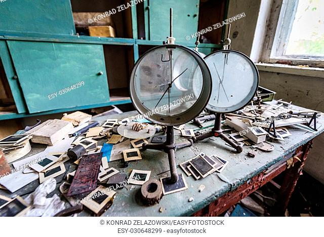 Physical lab in old secondary school in Mashevo abandoned village of Chernobyl Nuclear Power Plant Zone of Alienation in Ukraine
