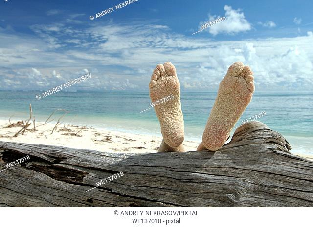 Woman lying on the beach feet up on a tree trunk, Denis island, Indian Ocean, Seychelles