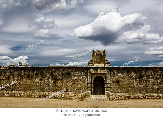 Frontal view of the entry Chinchon castle, Madrid province, Spain