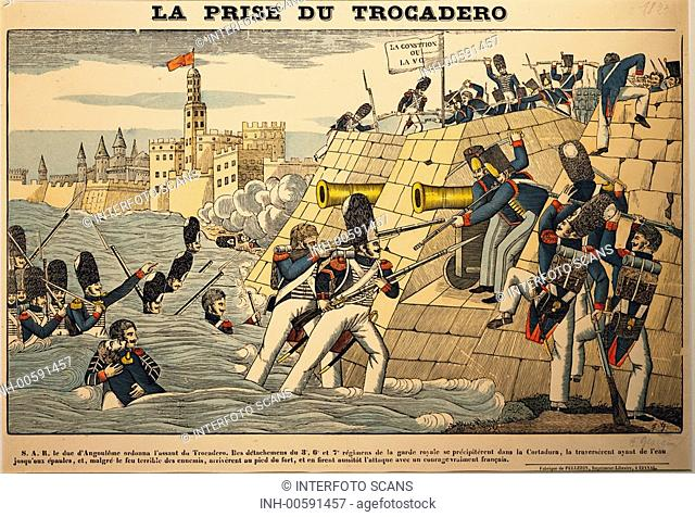 geography / travel, Spain, revolution 1820 - 1823, French intervention, storming of the Trocadero, Cadiz, 30.8.1823, colour lithograph, 19th century
