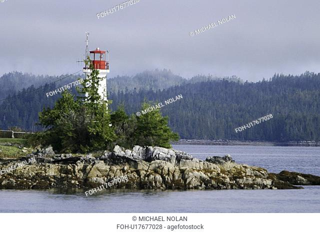 An unmanned lighthouse and weather station along the inside passage in British Columbia, Canada