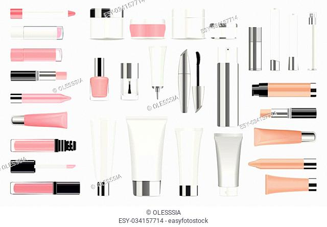 Super big set of detailed cosmetic tubes isolated on white. Place for your text. Vector