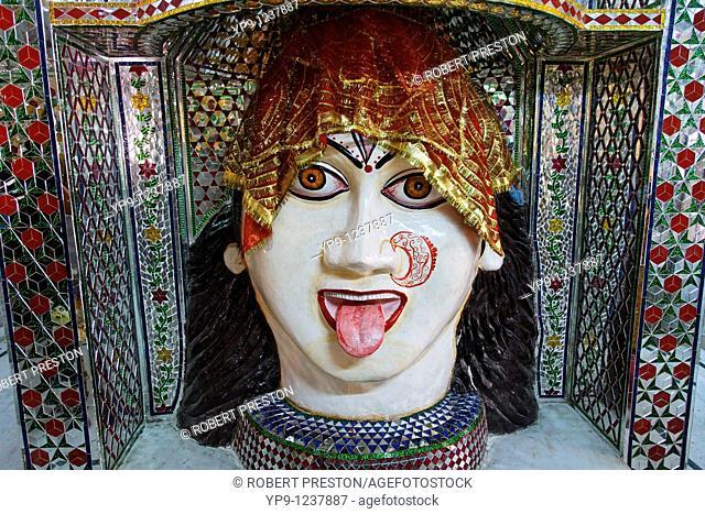 India - Punjab - Amritsar - sculture of a Hindu deity inside the Mata Lal Devi temple