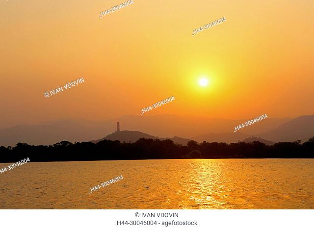 Summer palace, Kunming Lake, sunset, Beijing, China