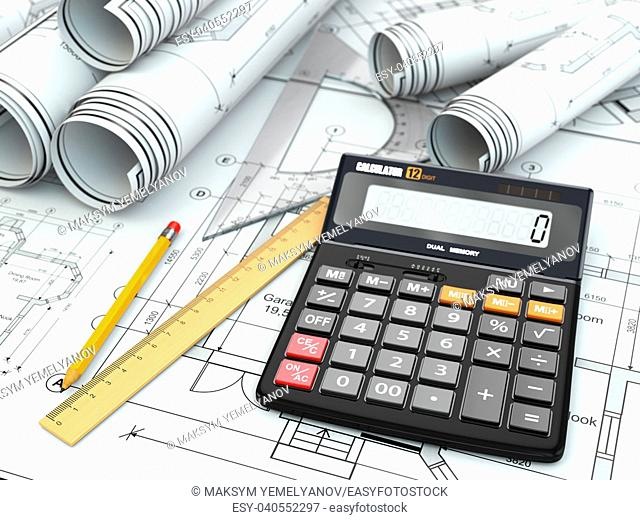 Concept of drawing. Blueprints, drafting tools and calculator. 3d