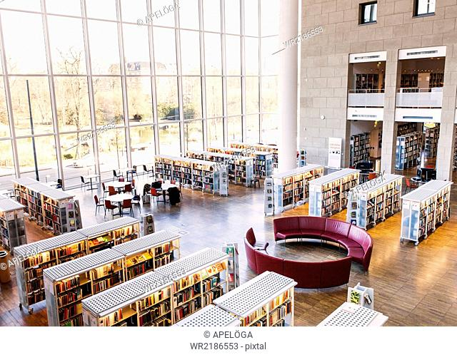High angle view of library