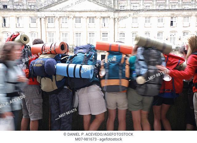 Pilgrims celebrating the arrival to Santiago, Santiago de Compostela, Spain, Europe