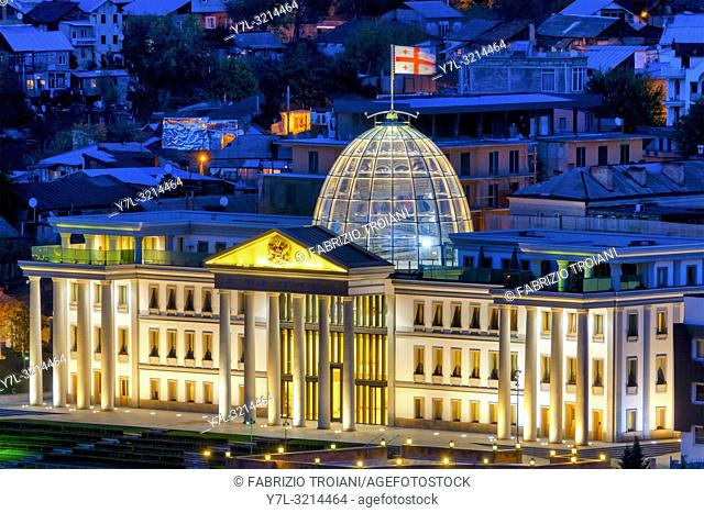Presidential Palace at night, Tbilisi, Georgia
