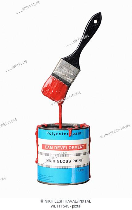 Paint brush pot can red tub