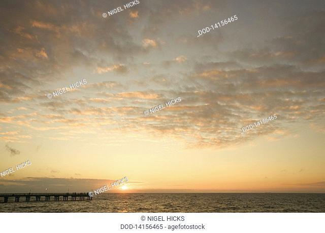 Lithuania, Palanga, Sunset over Baltic Sea