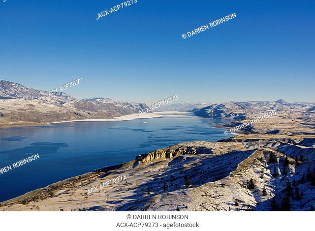 Chilly view above Kamloops Lake in the Thompson region of British Columbia, Canada