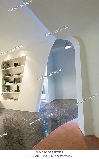 Hallway with marble floors in modern interior