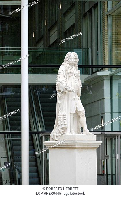 England, London, Chelsea, The Sir Hans Sloane statue and modern office buildings in Duke of York Square