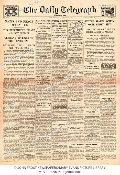 1939 Daily Telegraph front page reporting German Foreign Minister Joachim von Ribbentrop attacks Britain in a speech made in Danzig and seizure of US freighter...