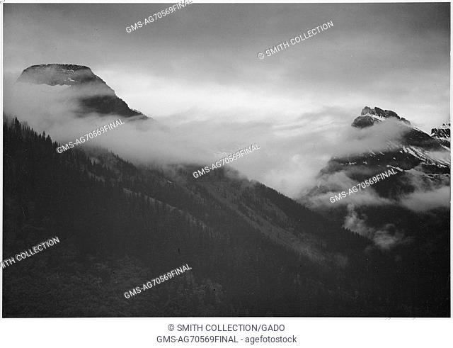 A black and white photograph of the peaks of mountains being partially obscured by clouds in Glacier National Park, the mountains are covered by dense forest...
