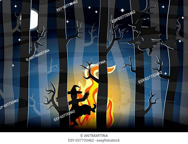 vector illustration of witches dancing around a fire at night in the forest