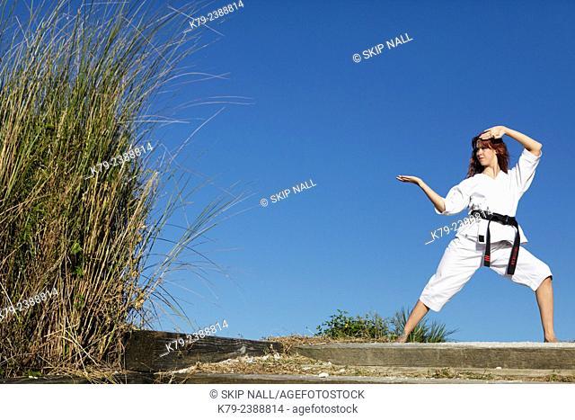 Female martial arts expert practicing