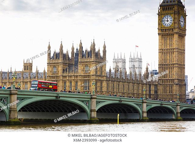 Big Ben, Houses of Parliament and Westminster Bridge viewed from across the River Thames. London, England, United kingdom, Europe