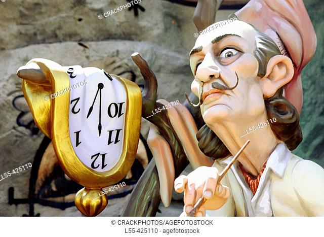 'Ninot' (figure to be burnt during 'fallas' festival) representing painter Salvador Dalí. Valencia, Spain