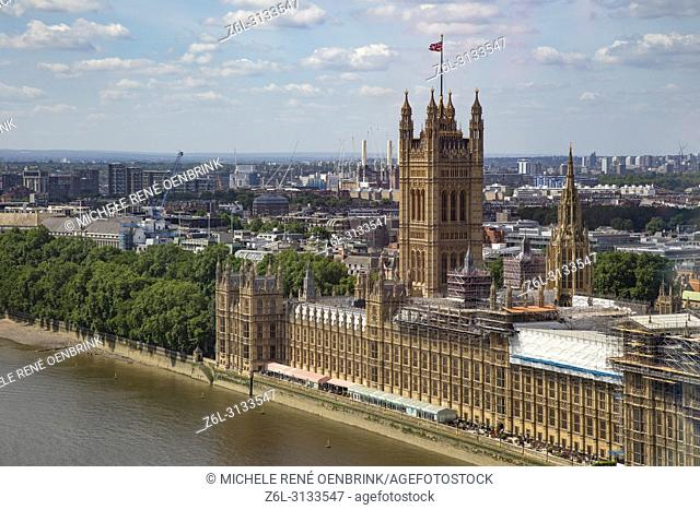Aerial View of Parliament House in London England from the London Eye