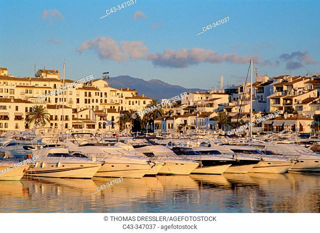 Exclusive yacht harbour of Puerto Banús near the town of Marbella at the Costa del Sol. Málaga province, Andalusia, Spain